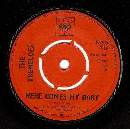 THE TREMELOES Here Comes My Baby Vinyl Record 7 Inch CBS 1967